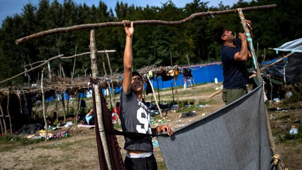 Refugiados sirios construyen tiendas de campaña en la frontera entre Hungría y Serbia