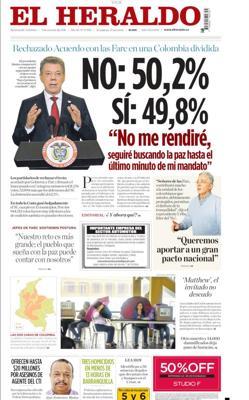 Portada de «El Heraldo» de Colombia