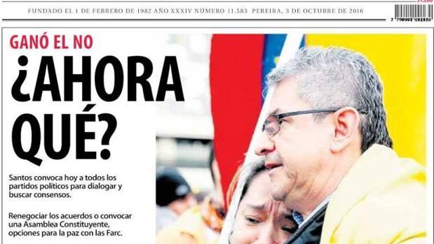 Portada de «El Diario / La tarde» colombiano