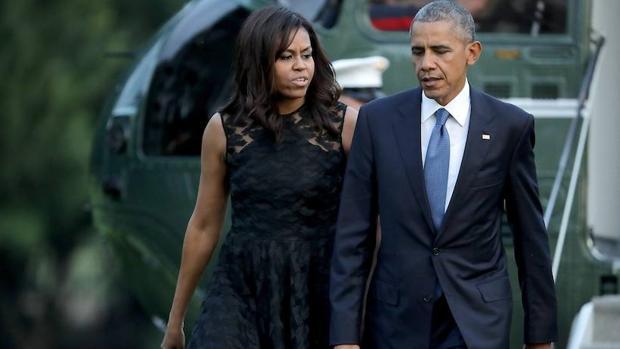 La primera dama de Estados Unidos, Michelle Obama, junto al presidente