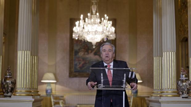 Antonio Guterres, durante su comparecencia ante la prensa hoy en Lisboa