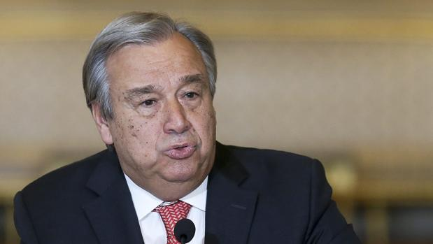 Antonio Guterres, hoy, durante una rueda de prensa en Lisboa
