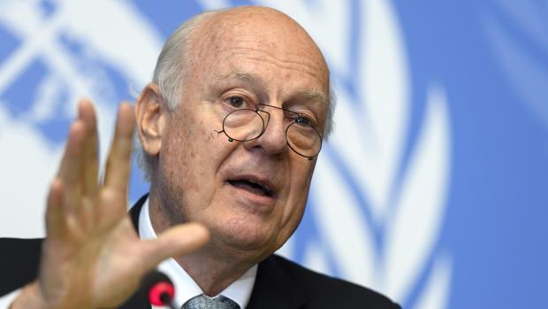 El enviado especial del Secretario General de la ONU para Siria, Staffan de Mistura,, durante la rueda de prensa en Ginebra