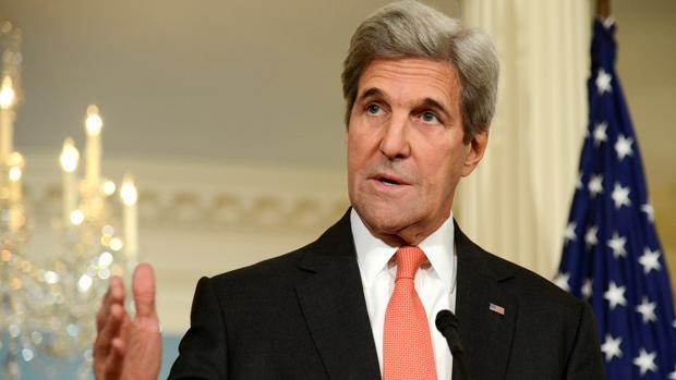 El secretario de Estado norteamericano, John Kerry, este viernes durante una reunión con el ministro de Exteriores francés, Jean-Marc Ayrault