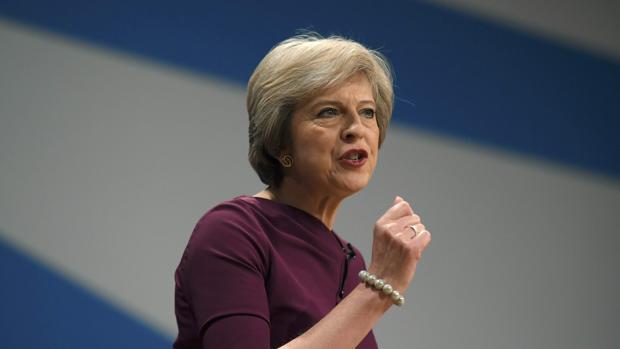 Theresa May, durante la Conferencia anual del Partido Conservador
