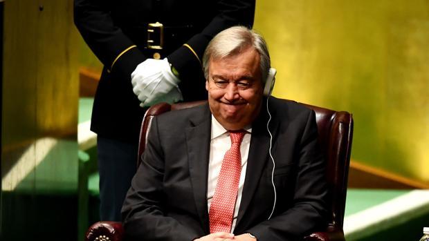 Antonio Guterres, durante la ceremonia de nombramiento como secretario general de la ONU, que ha tenido lugar durante la Asamblea General