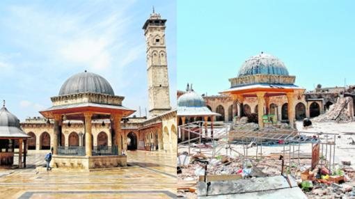 La Gran Mezquita de Alepo. Construida en el siglo XII, en marzo de 2013 sufrió bombardeos que derrumbaron su minarete y la dejaron con graves daños