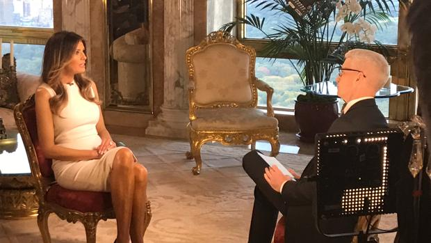 Melania Trump, durante la entrevista con la CNN