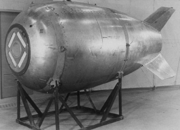 Carcasa de una bomba de tipo Mark IV, categoría a la que pertenecía «Fat Man», lanzada en Nagasaki