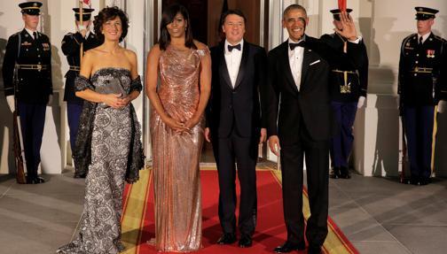 Matteo Renzi y su mujer, con los Obama en la Casa Blanca el pasado octubre