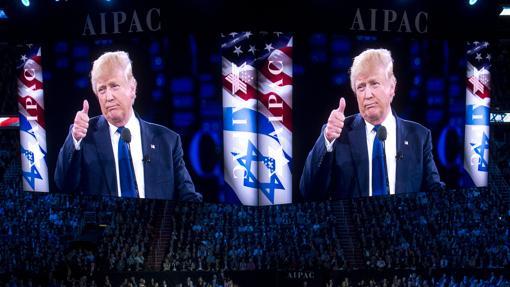 Donald Trump se dirige a los miembros del Comité de Asuntos Públicos Americanoisraelí (AIPAC, en sus siglas en inglés), el pasado marzo en Washington