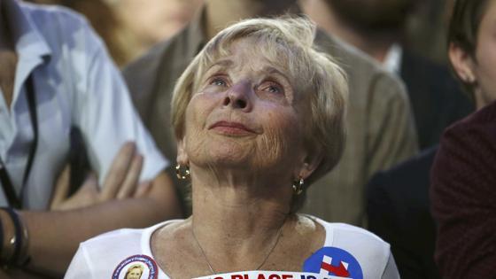 Lágrimas de una seguidora de Clinton
