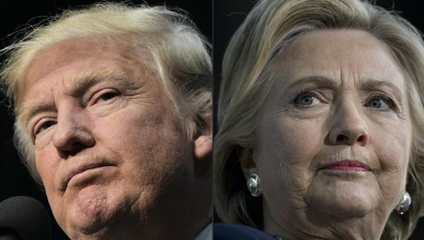 Fotomontaje que combina los rostros del republicamo Donald Trump y la demócrata Holary Clinton