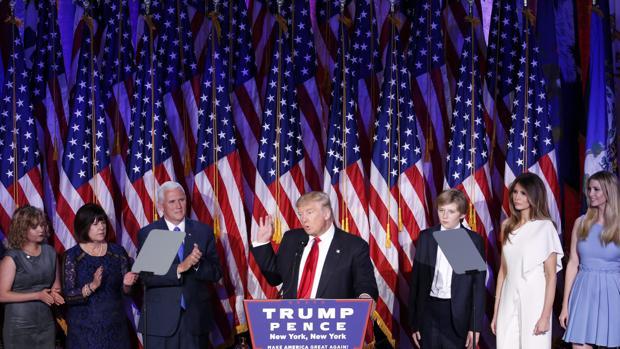 Donald Trump, en su primera comparecencia tras vencer en las elecciones presidenciales de EE.UU.