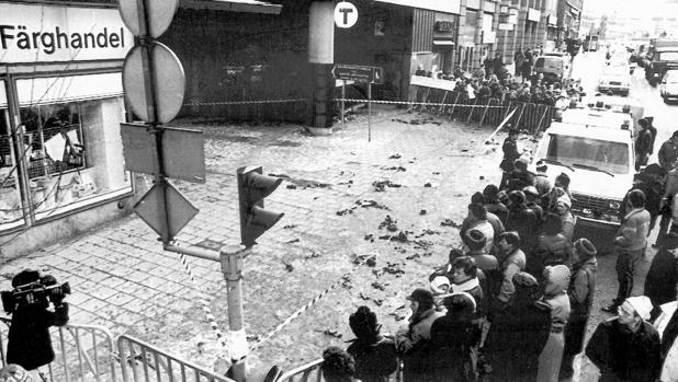 El lugar donde fue asesinato el primer ministro sueco Olof Palme en 1986