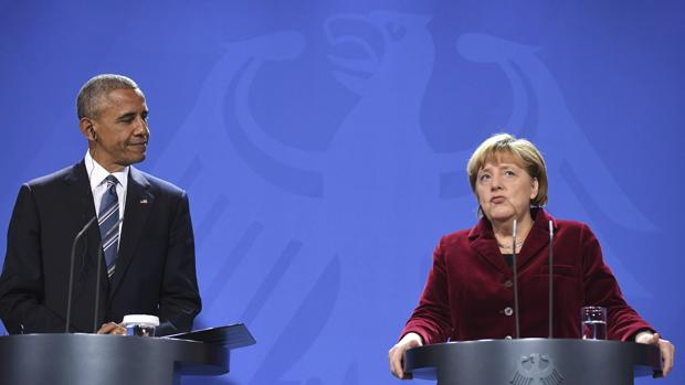 La canciller alemana, Angela Merkel, y el presidente de los Estados Unidos, Barack Obama, este jueves durante una rueda de prensa en la Cancillería de Berlín