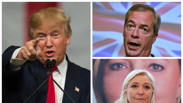 Donald Trump, Nigel Farage y Marine Le Pen
