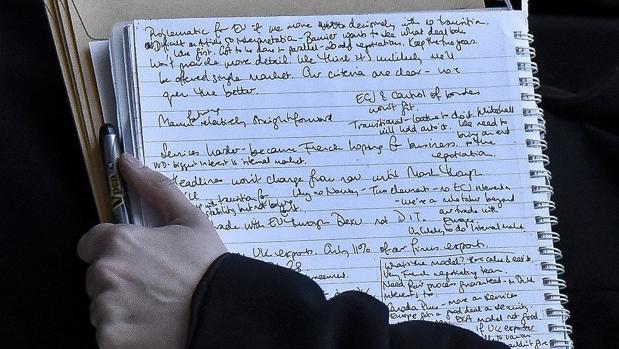 Notas tomadas por Julia Dockerill, asesora del diputado tory Mark Field que fue fotografiada con la carpeta en la mano a la salida de una reunión