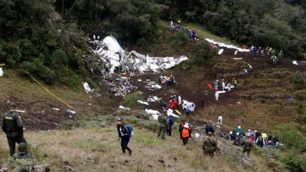Imagen del lugar donde se estrelló el avión del Chapecoense