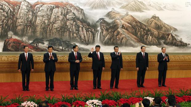 El actual presidente de China, Xi Jianping, junto a los principales dirigentes del gigante asiático
