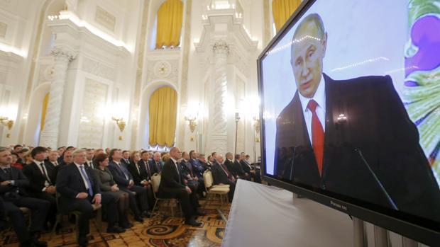 El discurso de Putin pudo ser seguido por varias pantallas