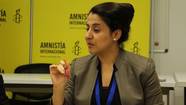 Nareen Shammo el pasado mes de diciembre en la sede de Amnistía Internacional en Madrid