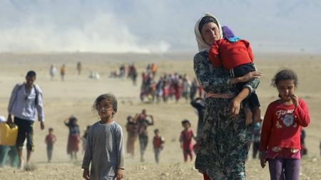 Familia yazidí desplazada en enero de 2014