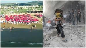 Mes de septiembre de 2016 en Siria. A la izquierda, la playa de Tartus en un vídeo promocional del Gobierno de Siria. A la derecha, los destrozos de un bombardeo sobre Alepo