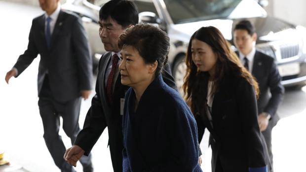 La expresidenta Park, a su llegada a los juzgados en Seúl