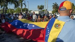 Venezolanos, en una protesta para exigir la libertad de Leopoldo López en Florida el pasado 8 de mayo