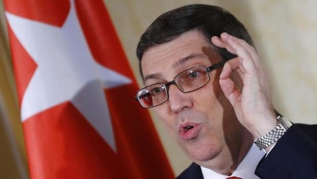 El ministro de Exteriores cubano, Bruno Rodríguez, durante una rueda de prensa este lunes en Viena