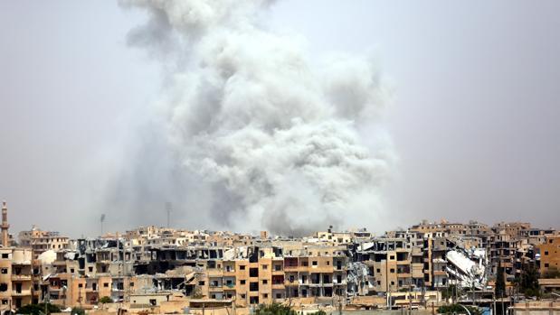 vista aerea de Raqqa el pasado 28 de julio