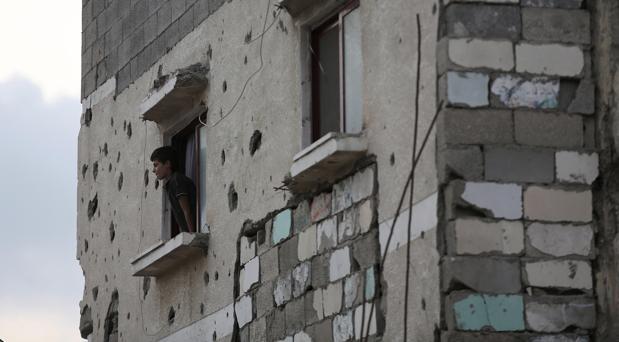 Vivienda de Gaza afectada durante la ofensiva de 2014, el pasado mes de julio