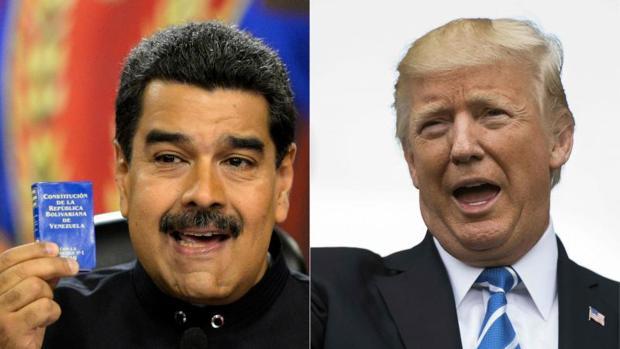 A la izquierda, Nicolás Maduro. A la derecha, Donald Trump