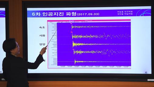 Lee Mi-Seon, directora del Servicio Nacional de Terremotos y Volcanes de Corea del Sur informa en rueda de prensa de los seísmos «artificiales» registrados