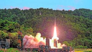 Imagen del lanzamiento de un misil de Corea del Norte