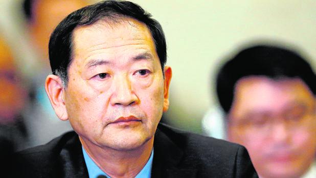 El embajador de Corea del Norte ante la ONU, Han Tae-song, durante la reunión en Ginebra