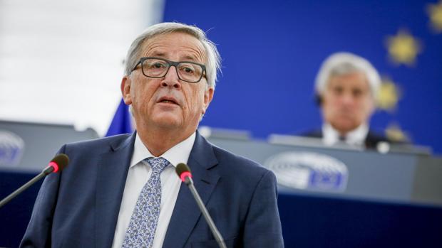 Jean-Claude Juncker durante el discurso de la polémica