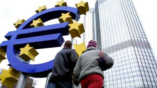 Entrada al edificio del Banco Central Europeo, en Francfort