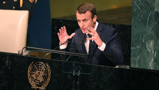 El Presidente francés Enmanuel Macron, en la Asamblea General de la ONU