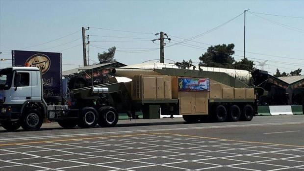 El nuevo misil de Irán, Jorramshahr, durante un desfile militar, 22 de septiembre de 2017