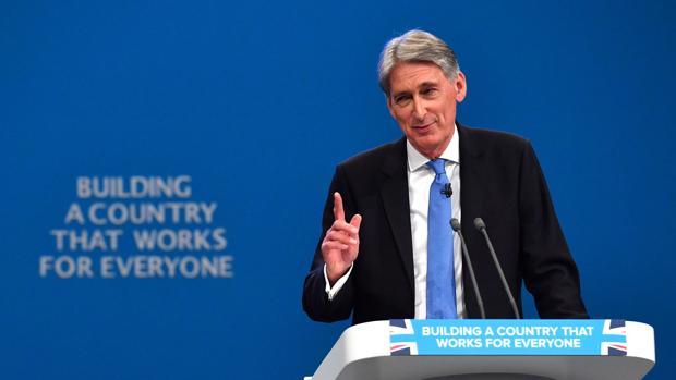 Phillip Hammond, durante su intervención en el congreso de los conservadores en Mánchester
