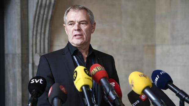 Jens Moeller , policía encargado de la investigación durante la rueda de prensa que ha ofrecido