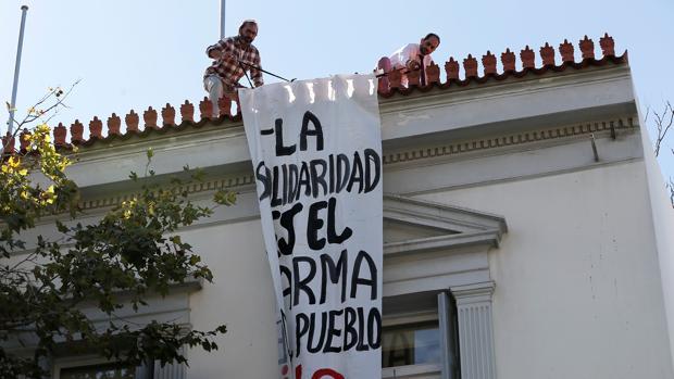 Imagen de la fachada de la Embajada española en Atenas hoy