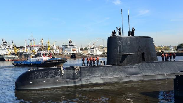 Una imagen del submarino ARA San Juan, en el puerto de Buenos Aires