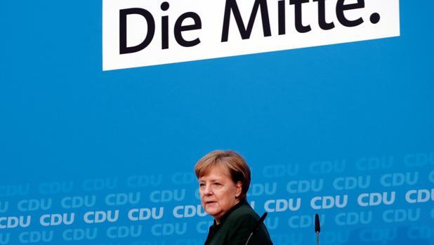 Angela Merkel, durante una reunión con su partido esta semana