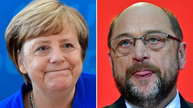 Fotomontaje de Angela Merkel y Martin Schulz