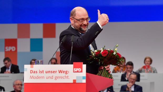 Martin Schulz, tras su reelección al frente del SPD en el congreso de los socialdemócratas alemanes