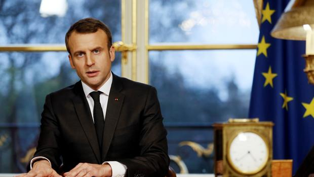 El presidente Macron, en el palacio del Elíseo