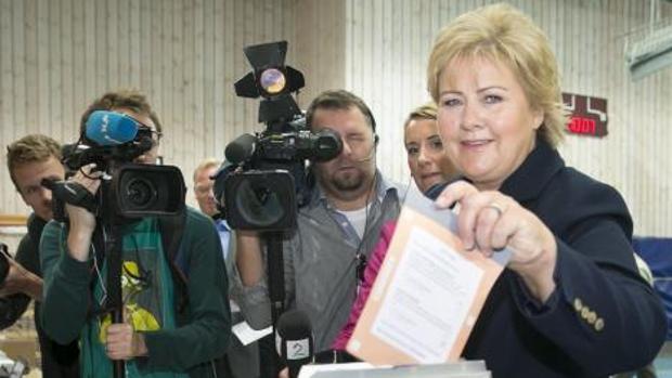 La política conservadora noruega Erna Solberg, durante las elecciones de 2013
